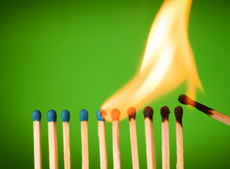 concept with matches- chain reaction