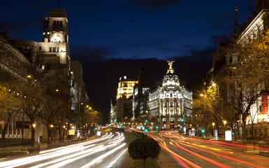 Madrid - look from Plaza de Cibeles in dusk to Cale de Alcala
