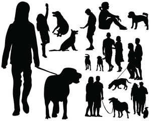 Silhouettes of people with dog-vector