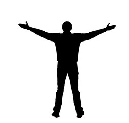 Silhouette of a man with spread arms on a white blackground