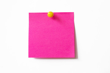 Pink sticky note on white background