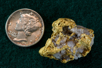 Nevada USA Gold / Quartz Nugget - Shown with Dime for Scale