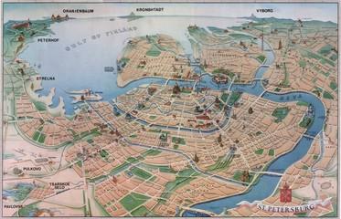 Wall Mural - Petersburg vintage map