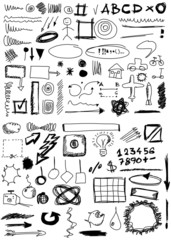 Set hand drawn, doodle, numbers, shapes, circle, square, line