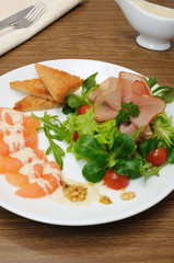 Appetizer of jamon with vegetables