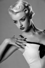 Retro monochrome portrait of young blond