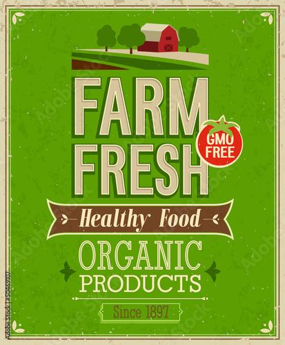 Wall mural Vintage Farm Fresh Poster. Vector illustration.