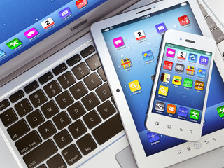 Laptop, mobile phone and digital tablet pc