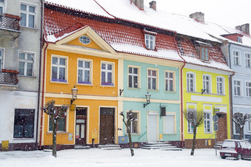 Streets of Gniew town in winter scenery, Poland