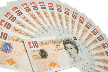 Collection of ten pounds notes on white