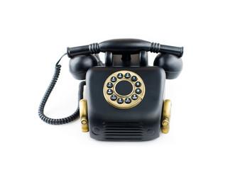 black Retro Phone - Vintage Telephone isolated on White