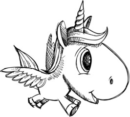 Wall Murals Cartoon draw Sketch Doodle Unicorn Pegasus Alicorn Art