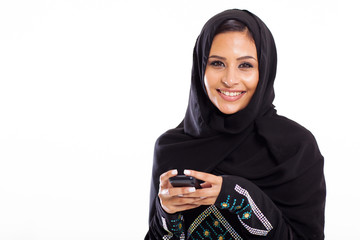 young Arabic woman with smart phone