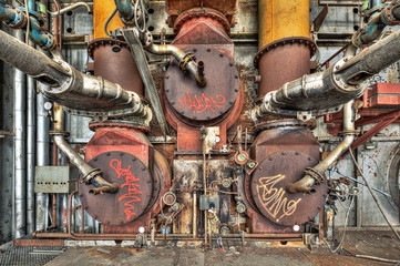 Old gas boiler in an abandoned power plant