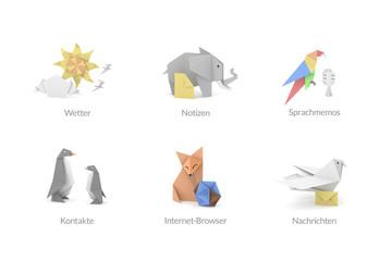Origami Polygon Icons für Apps und Software