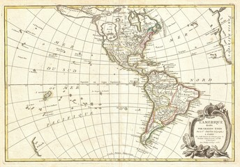 North and South America vintage map