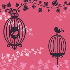 Printed roller blinds Birds in cages Birdcage