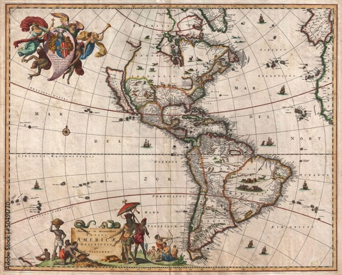 Wall mural North and South America vintage map
