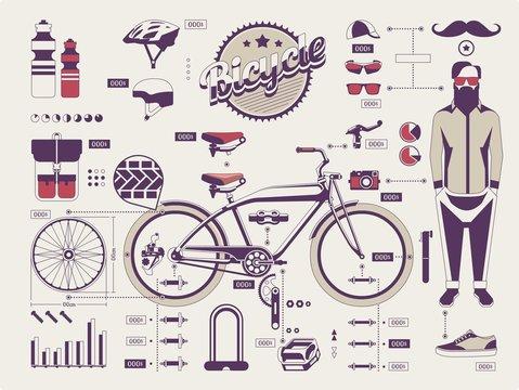 hipster vs bike info graphic elements