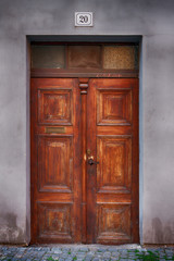 old wooden house Door in city Pardubice