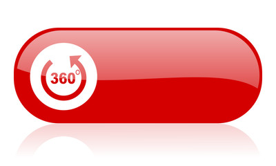 360 degrees panorama red web glossy icon
