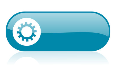 gears blue web glossy icon