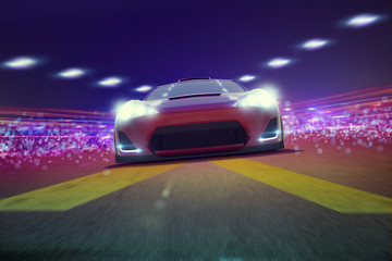 Sportscar at night on Track 3D