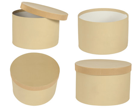 round box, cardboard made, isolated on white