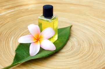 Wall Mural - Massage oil for tropical spa concept