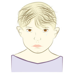 young boy concept of sadness - vector illustration