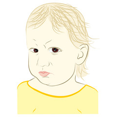 young child with angry face expression - vector illustration