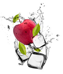 Poster In het ijs Red apple with ice cubes, isolated on white background