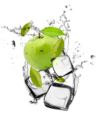 Poster In het ijs Green apple with ice cubes, isolated on white background