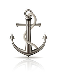 Anchor with rope on white background.