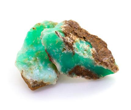 Raw green chrysoprase rocks isolated on white
