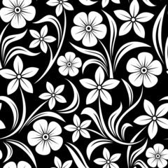 Fotobehang Bloemen zwart wit Seamless pattern with flowers. Vector illustration.