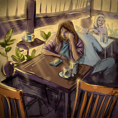 Young Woman at a Cafe. Digital Illustration