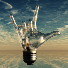 Rock n roll horns gesture lightbulb