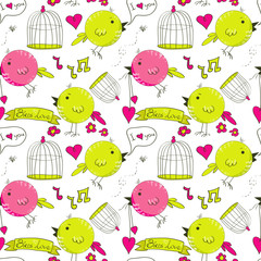 Wall Murals Birds in cages Vector seamless pattern with hand drawn birds