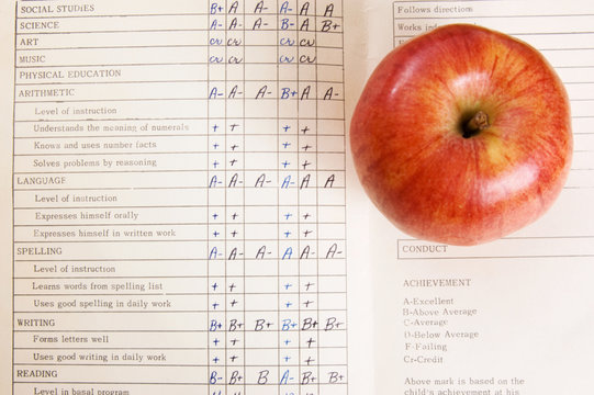 Apple on a vintage report card