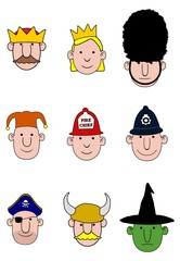 Cartoon character heads