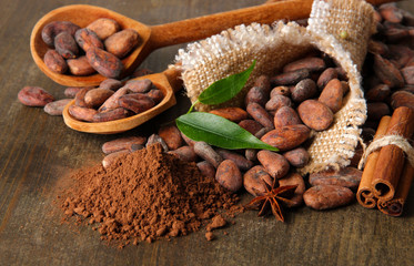 Foto auf AluDibond Gewürze 2 Cocoa beans in spoons, cocoa powder and spices