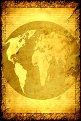Retroplakat - Weltkugel