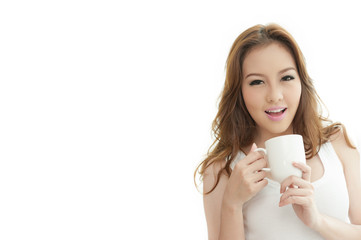 Asian woman holding Coffee cup on white Background text spa
