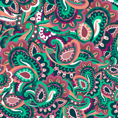 Colourful seamless paisley pattern