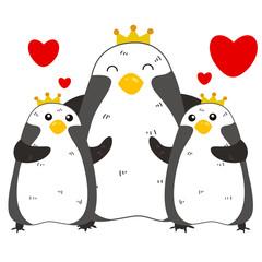cute penguin family