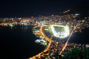 Night view of jockey club, Lagoa and Leblon. Rio de Janeiro