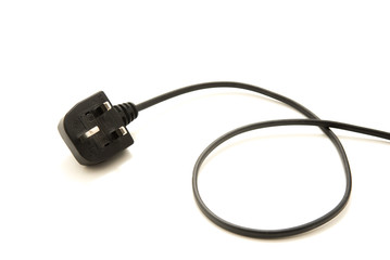 Black UK Electrical wire and plug