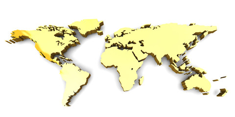 Autocollant pour porte Carte du monde WORLD MAP - 3D