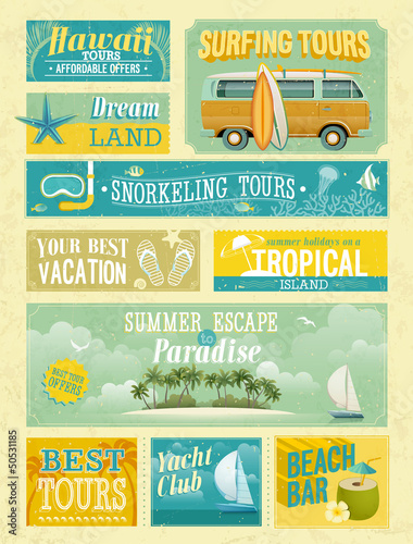 Wall mural Vintage summer holidays and beach advertisements.